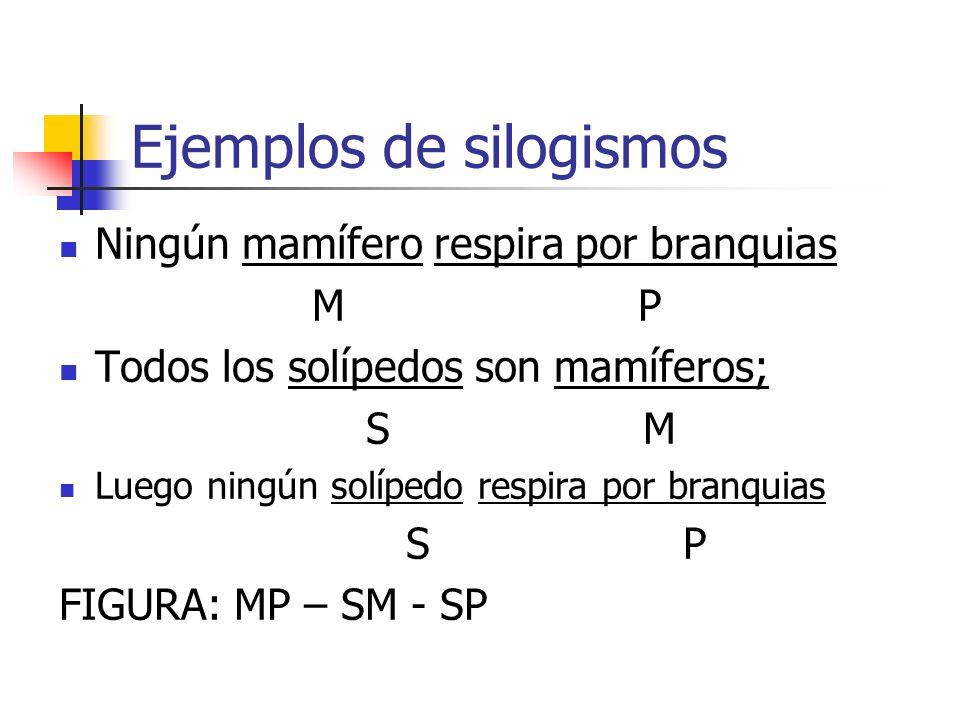 Ejemplos de silogismos Ningún mamífero respira por branquias M P Todos los solípedos son mamíferos; S M Luego ningún solípedo respira por branquias S