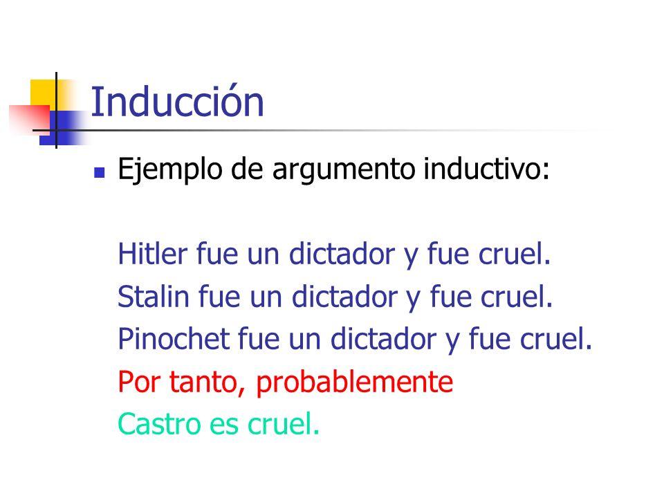 Inducción Ejemplo de argumento inductivo: Hitler fue un dictador y fue cruel. Stalin fue un dictador y fue cruel. Pinochet fue un dictador y fue cruel