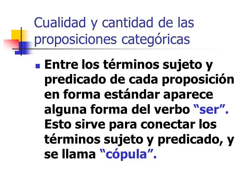 Cualidad y cantidad de las proposiciones categóricas Entre los términos sujeto y predicado de cada proposición en forma estándar aparece alguna forma