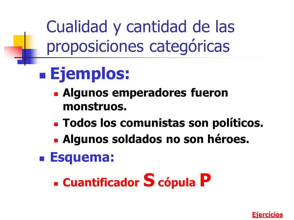 Cualidad y cantidad de las proposiciones categóricas Ejemplos: Algunos emperadores fueron monstruos. Todos los comunistas son políticos. Algunos solda