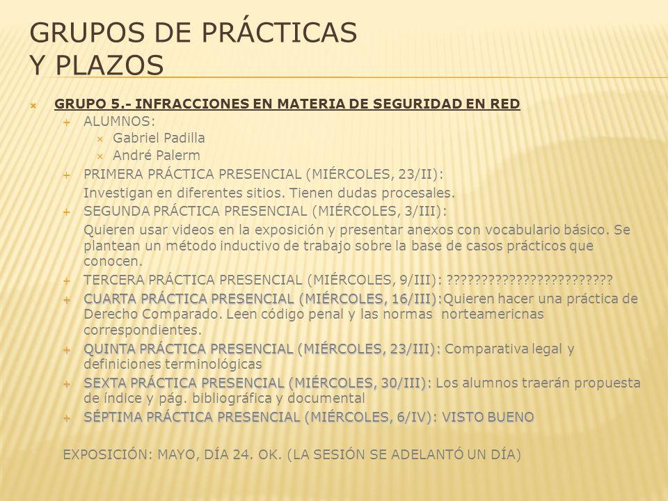 GRUPOS DE PRÁCTICAS Y PLAZOS GRUPO 5.- INFRACCIONES EN MATERIA DE SEGURIDAD EN RED ALUMNOS: Gabriel Padilla André Palerm PRIMERA PRÁCTICA PRESENCIAL (MIÉRCOLES, 23/II): Investigan en diferentes sitios.