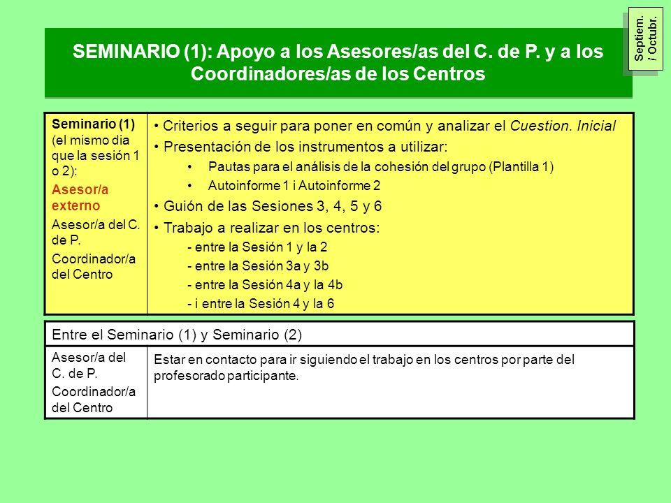 SEMINARIO (1): Apoyo a los Asesores/as del C. de P. y a los Coordinadores/as de los Centros Seminario (1) (el mismo dia que la sesión 1 o 2): Asesor/a