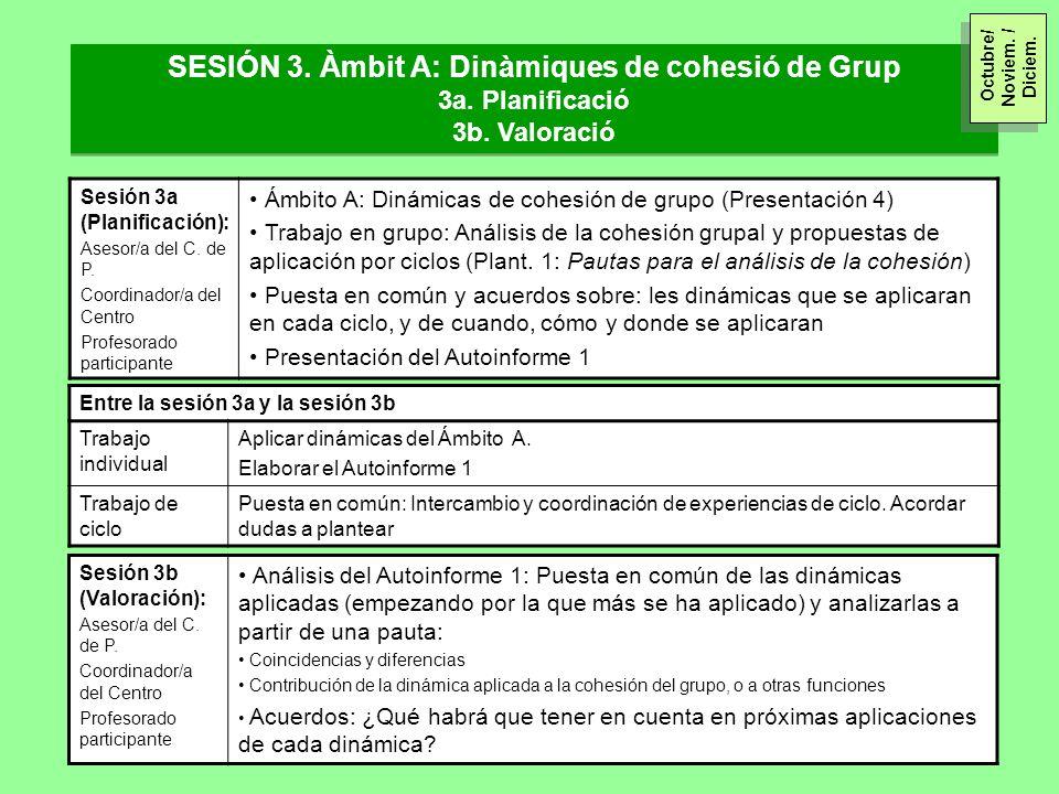 Sesión 3a (Planificación): Asesor/a del C. de P. Coordinador/a del Centro Profesorado participante Ámbito A: Dinámicas de cohesión de grupo (Presentac