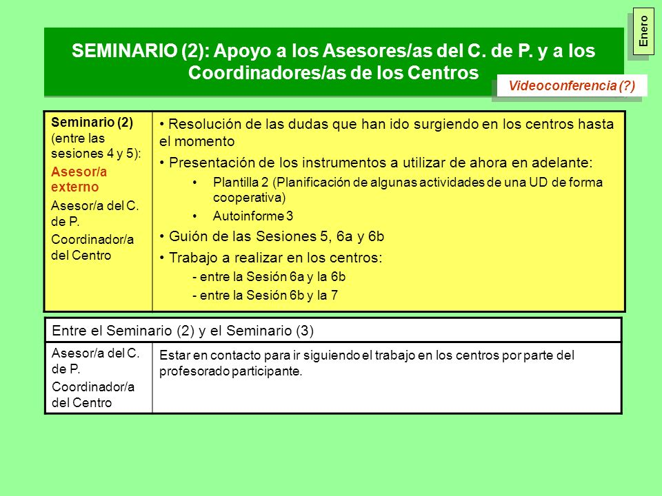 Seminario (2) (entre las sesiones 4 y 5): Asesor/a externo Asesor/a del C. de P. Coordinador/a del Centro Resolución de las dudas que han ido surgiend