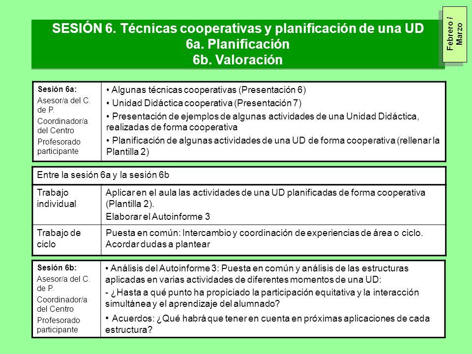 SESIÓN 6. Técnicas cooperativas y planificación de una UD 6a. Planificación 6b. Valoración SESIÓN 6. Técnicas cooperativas y planificación de una UD 6