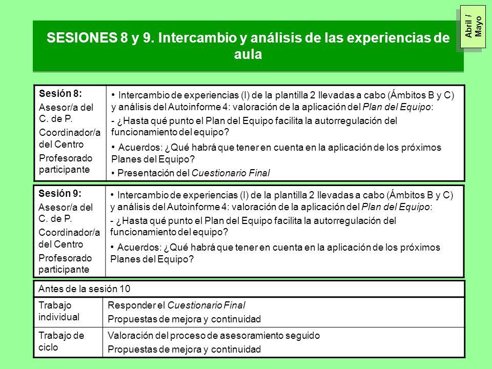 SESIONES 8 y 9. Intercambio y análisis de las experiencias de aula Sesión 8: Asesor/a del C. de P. Coordinador/a del Centro Profesorado participante I