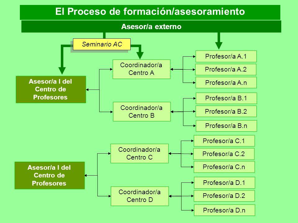 Coordinador/a Centro A Profesor/a A.2 Profesor/a A.1 Profesor/a A.n Asesor/a I del Centro de Profesores Coordinador/a Centro B Profesor/a B.2 Profesor