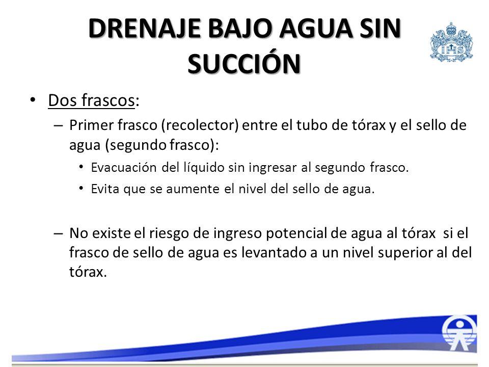 Dos frascos: – Primer frasco (recolector) entre el tubo de tórax y el sello de agua (segundo frasco): Evacuación del líquido sin ingresar al segundo f