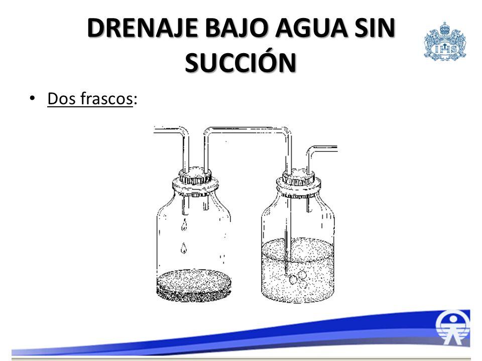 DRENAJE BAJO AGUA CON SUCCIÓN Dos frascos: – Primer frasco: recolector y válvula de seguridad con sello de agua.
