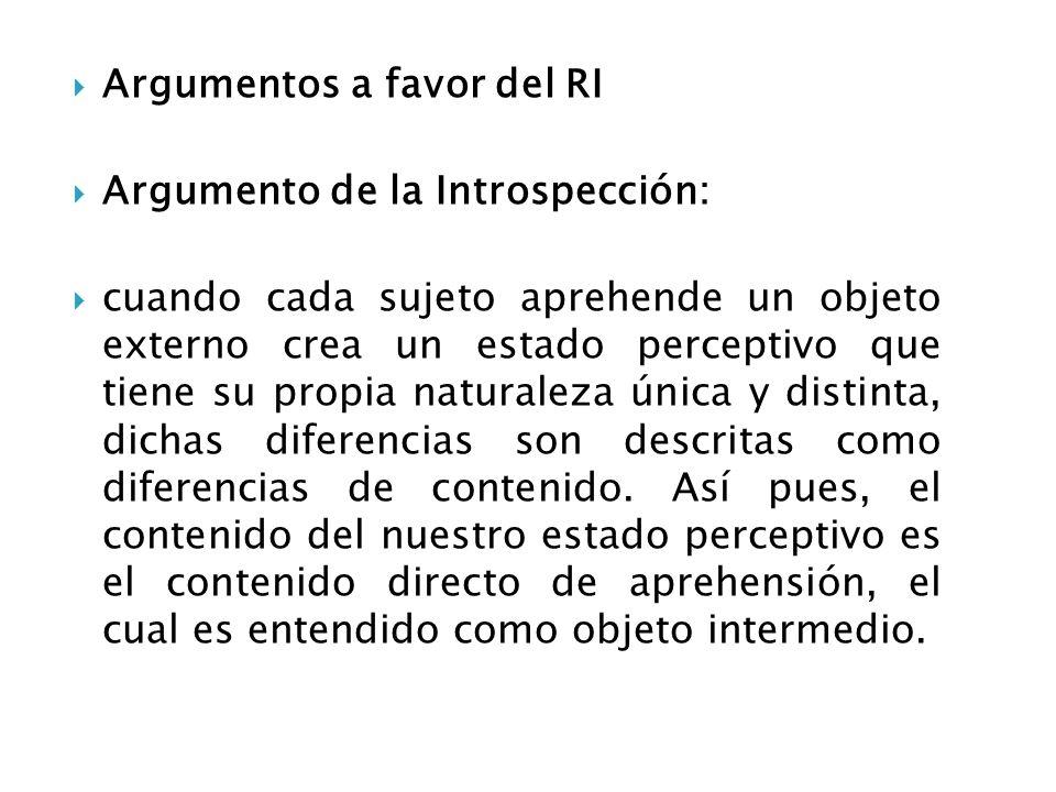 Argumentos a favor del RI Argumento de la Introspección: cuando cada sujeto aprehende un objeto externo crea un estado perceptivo que tiene su propia