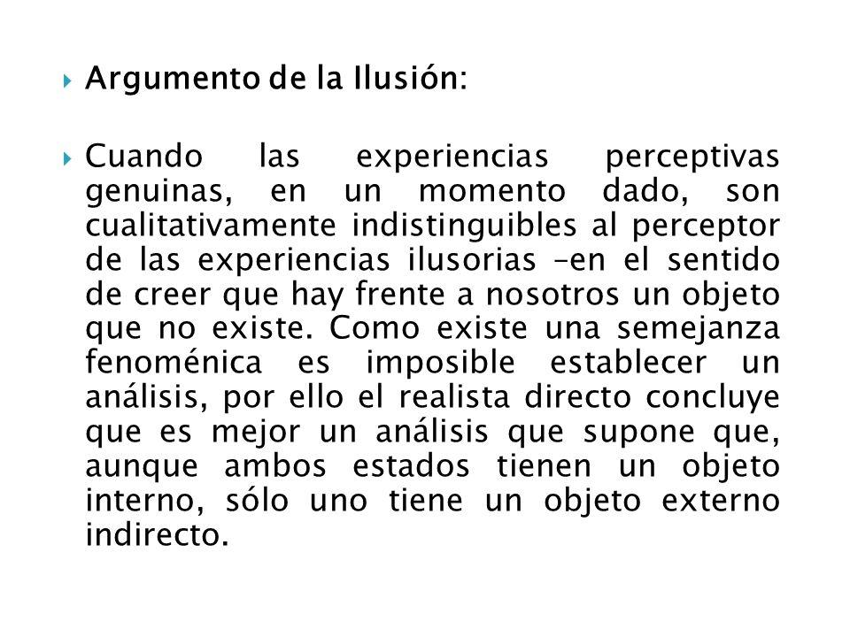 Argumento de la Ilusión: Cuando las experiencias perceptivas genuinas, en un momento dado, son cualitativamente indistinguibles al perceptor de las ex