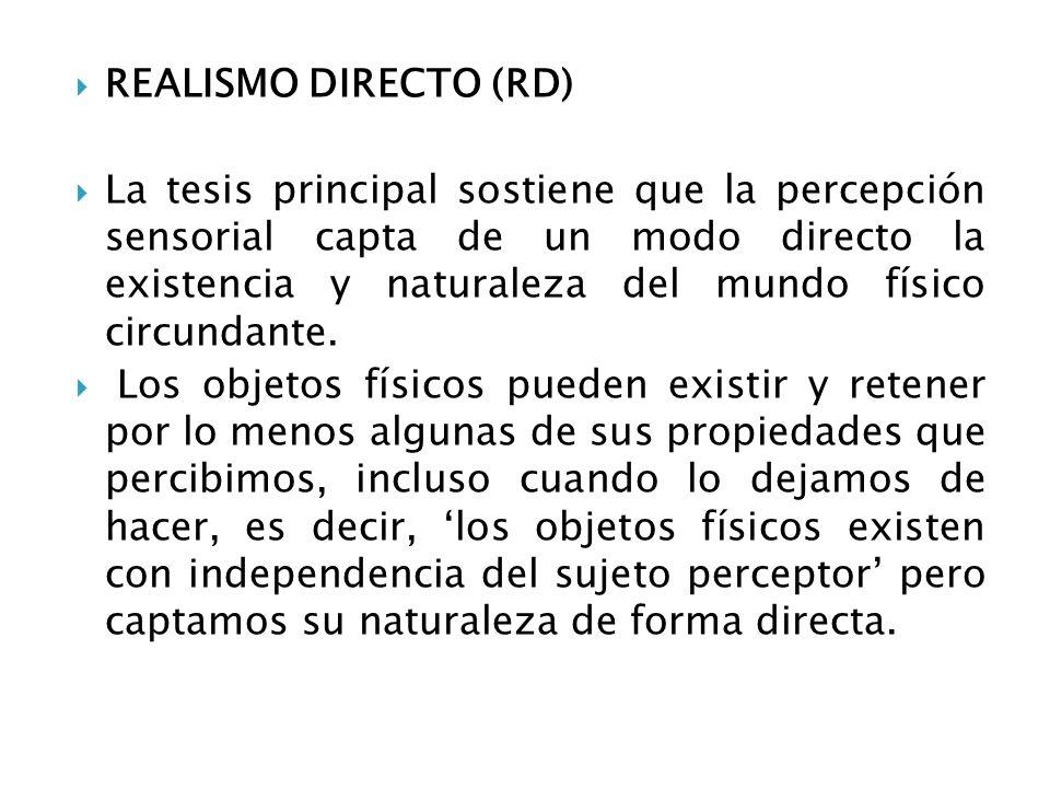 REALISMO DIRECTO (RD) La tesis principal sostiene que la percepción sensorial capta de un modo directo la existencia y naturaleza del mundo físico cir