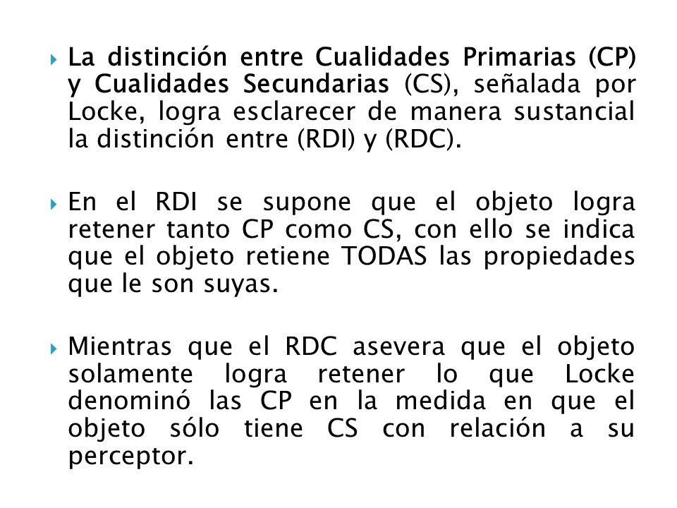 Argumentos en contra del RDC : (1) Berkeley bien señaló que el mundo se presenta como una experiencia donde se entremezclan CP y CS indistintamente.