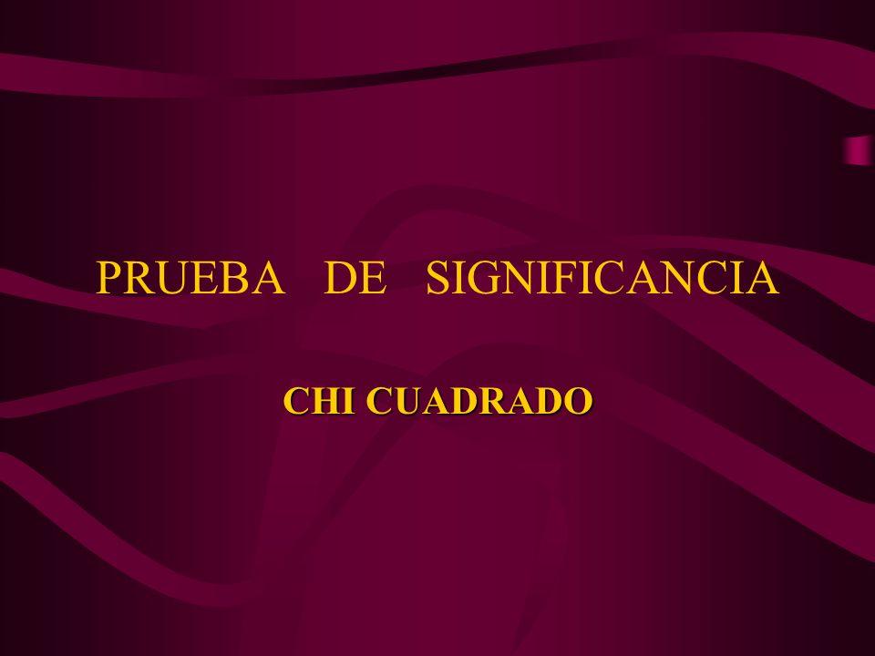 PRUEBA DE SIGNIFICANCIA CHI CUADRADO
