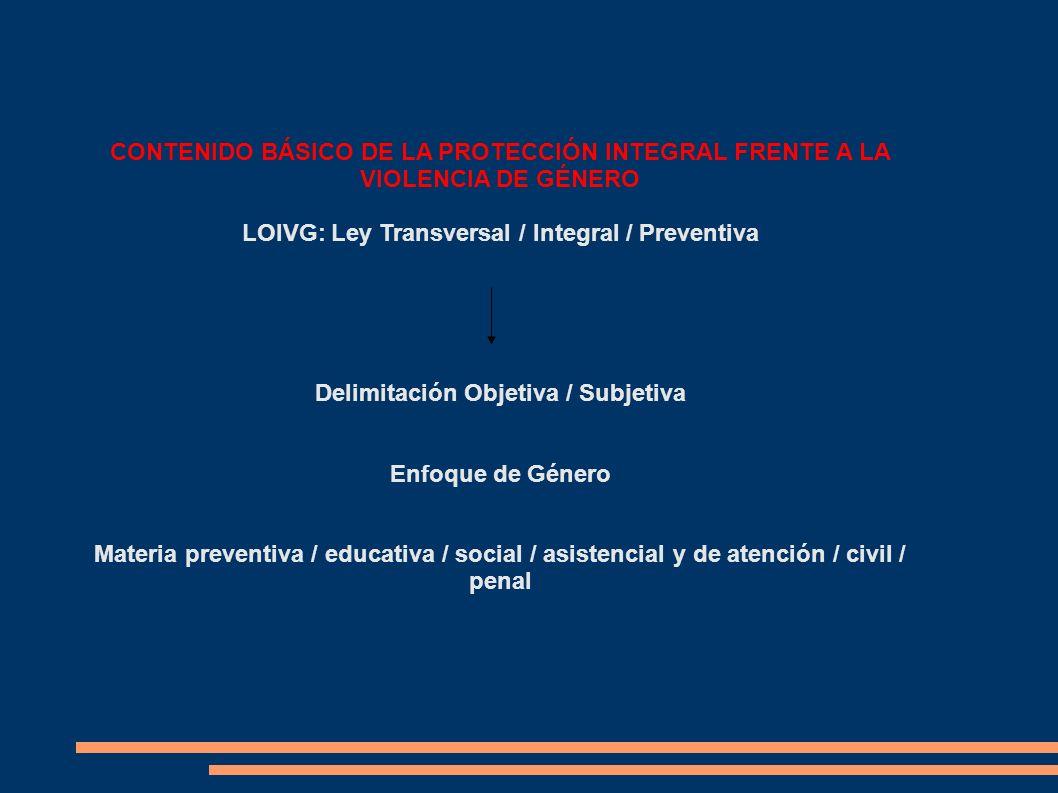 CONTENIDO BÁSICO DE LA PROTECCIÓN INTEGRAL FRENTE A LA VIOLENCIA DE GÉNERO LOIVG: Ley Transversal / Integral / Preventiva Delimitación Objetiva / Subj