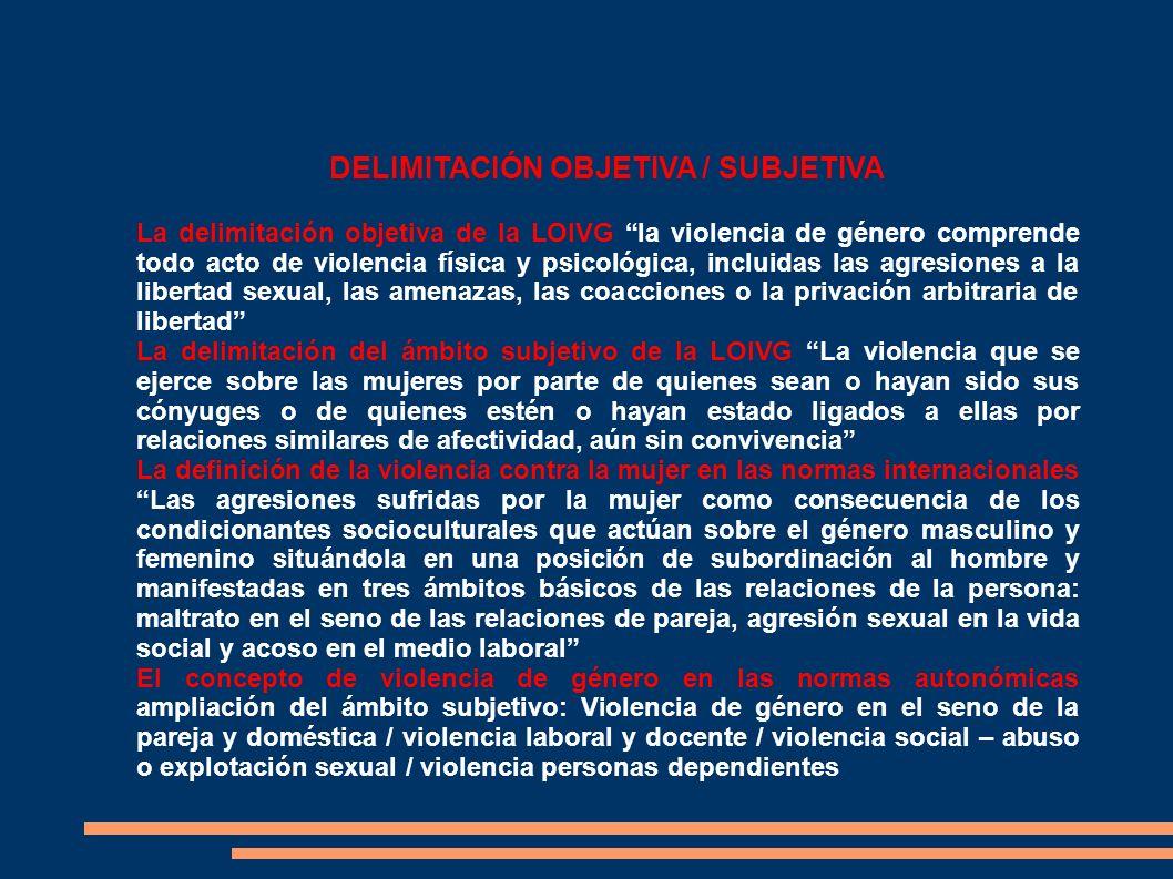 DELIMITACIÓN OBJETIVA / SUBJETIVA La delimitación objetiva de la LOIVG la violencia de género comprende todo acto de violencia física y psicológica, i