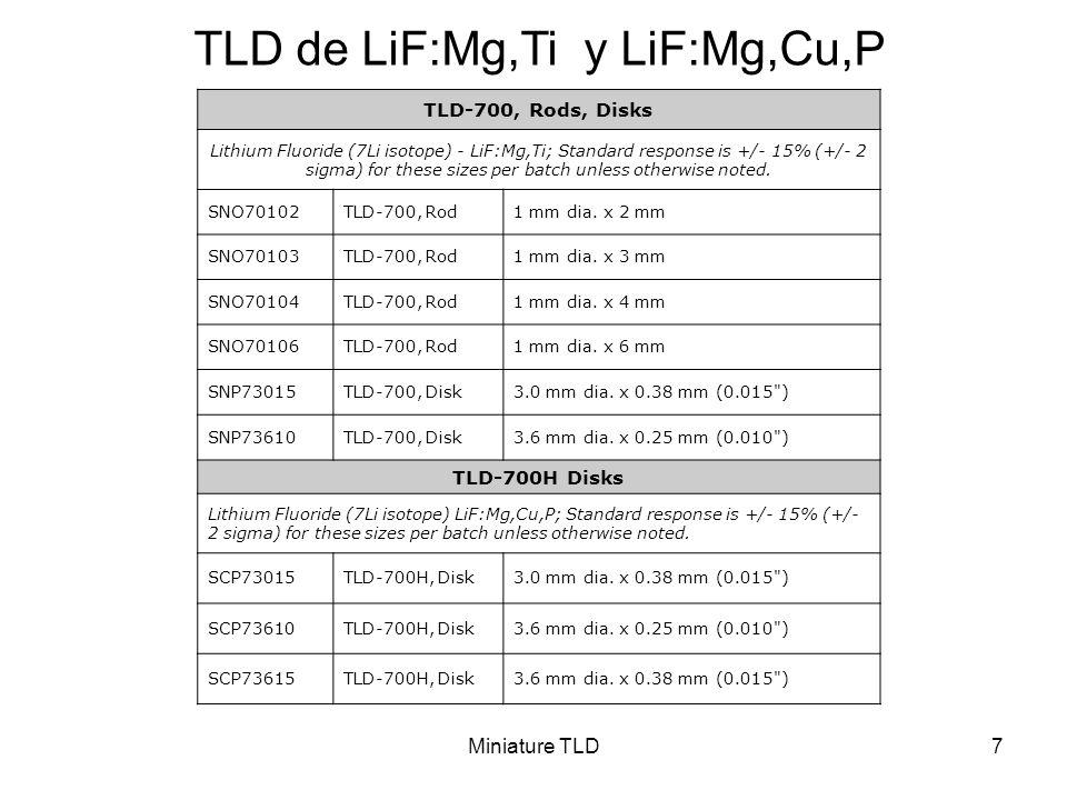 Miniature TLD7 TLD de LiF:Mg,Ti y LiF:Mg,Cu,P TLD-700, Rods, Disks Lithium Fluoride (7Li isotope) - LiF:Mg,Ti; Standard response is +/- 15% (+/- 2 sig