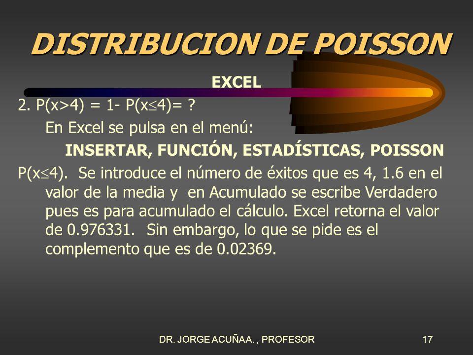 DR. JORGE ACUÑA A., PROFESOR16 DISTRIBUCION DE POISSON EXCEL