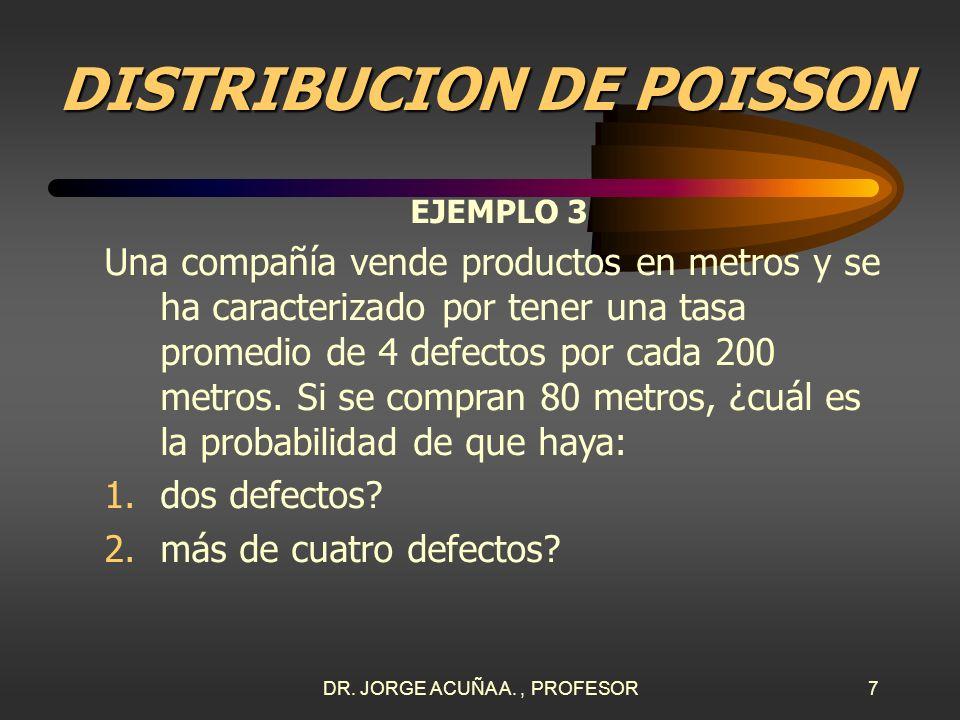 DR. JORGE ACUÑA A., PROFESOR6 DISTRIBUCION DE POISSON ¿Cómo usar las tablas? En el caso de probabilidades acumuladas, se localiza el valor de en la co