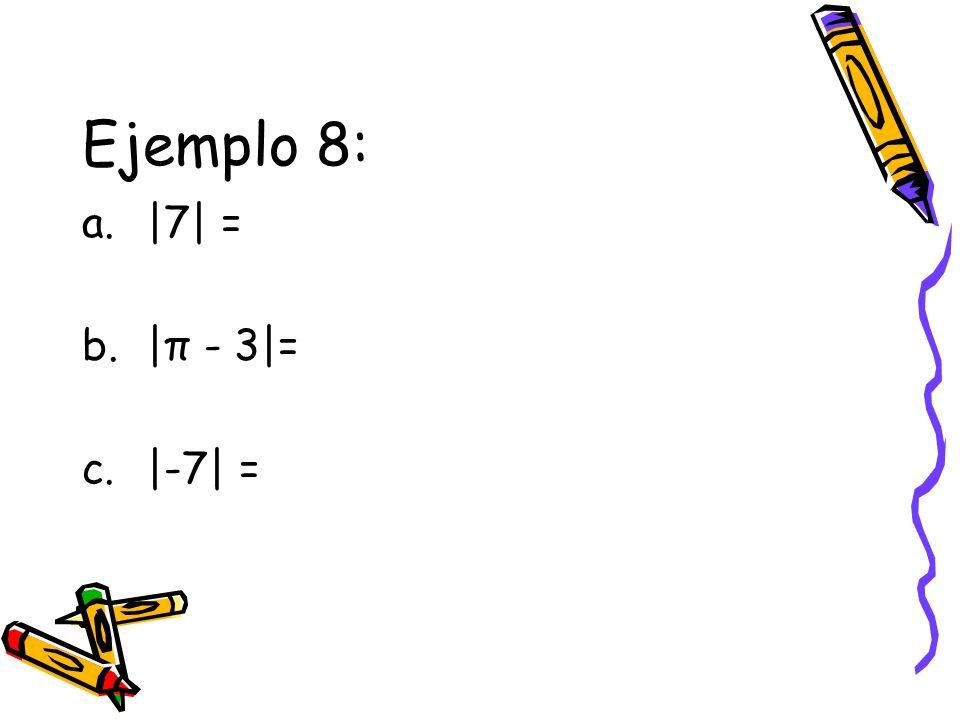Ejemplo 8: a.|7| = b.|π - 3|= c.|-7| =