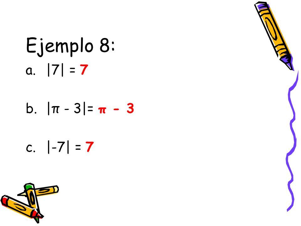 Ejemplo 8: a.|7| = 7 b.|π - 3|= π - 3 c.|-7| = 7