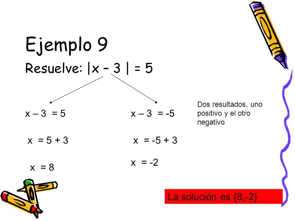 Ejemplo 9 Resuelve: |x – 3 | = 5 x – 3 = 5 Dos resultados, uno positivo y el otro negativo x – 3 = -5 x = 5 + 3 x = 8 x = -5 + 3 x = -2 La solución es