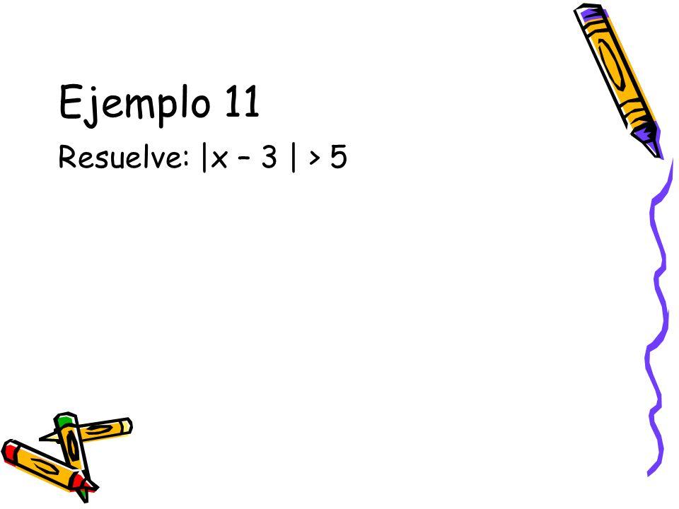 Ejemplo 11 Resuelve: |x – 3 | > 5