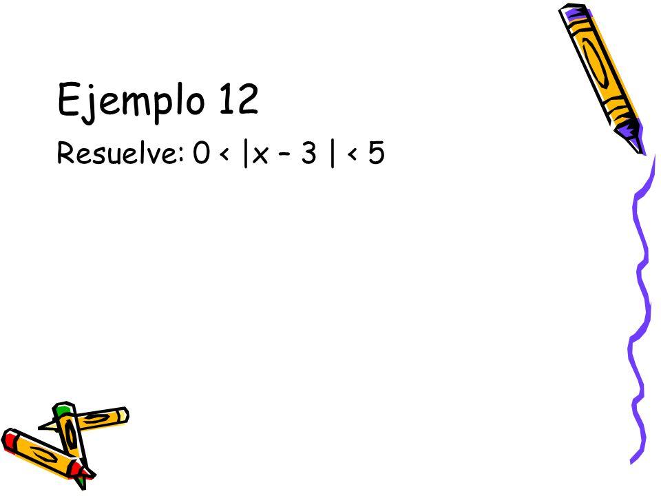 Ejemplo 12 Resuelve: 0 < |x – 3 | < 5