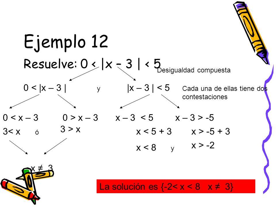 Ejemplo 12 Resuelve: 0 < |x – 3 | < 5 0 < |x – 3 | Desigualdad compuesta |x – 3 | < 5 La solución es {-2< x < 8 x 3} Cada una de ellas tiene dos conte