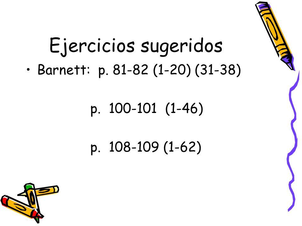 Ejercicios sugeridos Barnett: p. 81-82 (1-20) (31-38) p. 100-101 (1-46) p. 108-109 (1-62)