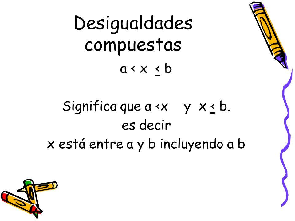 Desigualdades compuestas a < x < b Significa que a <x y x < b. es decir x está entre a y b incluyendo a b
