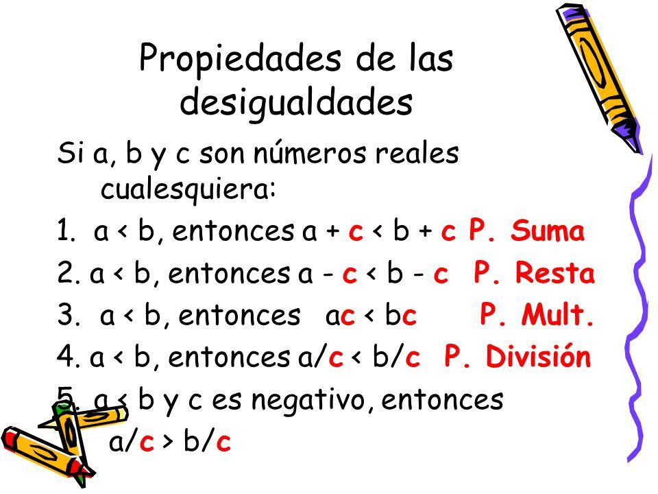 Propiedades de las desigualdades Si a, b y c son números reales cualesquiera: 1. a < b, entonces a + c < b + c P. Suma 2. a < b, entonces a - c < b -