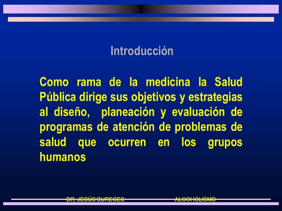 Introducción Como rama de la medicina la Salud Pública dirige sus objetivos y estrategias al diseño, planeación y evaluación de programas de atención de problemas de salud que ocurren en los grupos humanos DR.