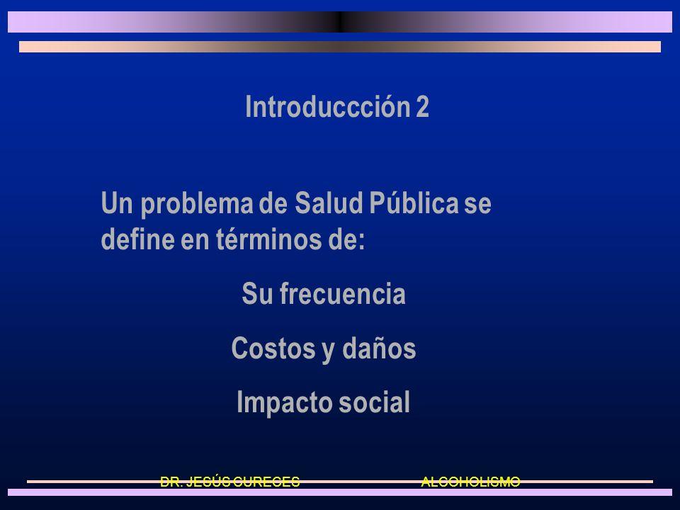 Introduccción 2 Un problema de Salud Pública se define en términos de: Su frecuencia Costos y daños Impacto social DR.
