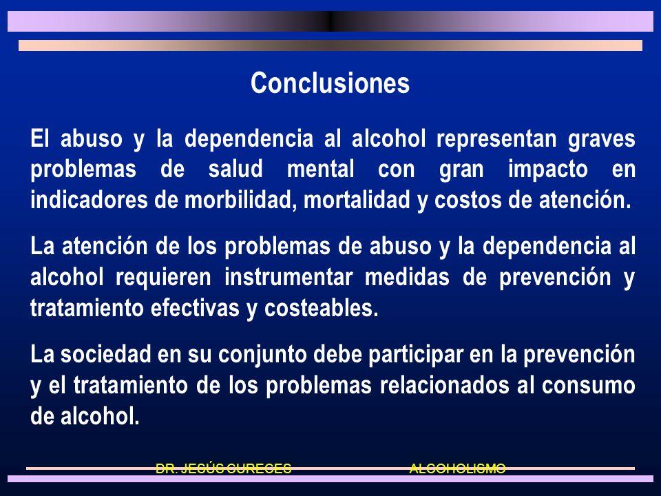 Metas del tratamiento a) Abuso: Disminuir el riesgo del consumo excesivo mediante la moderación b) Dependencia: Generar abstinencia a largo plazo Meta