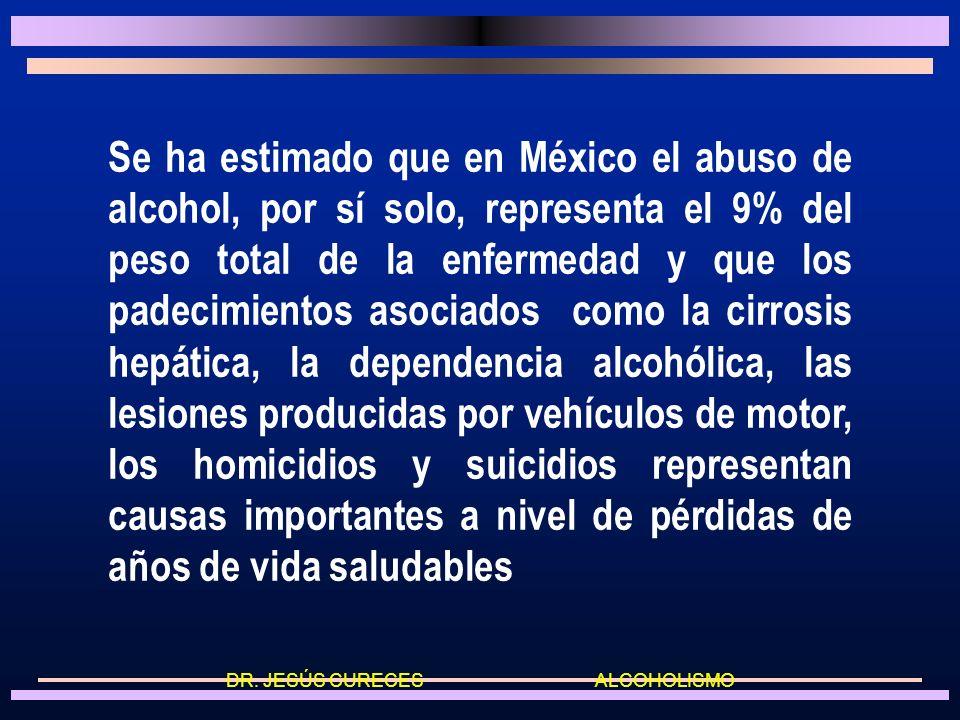 Se ha estimado que en México el abuso de alcohol, por sí solo, representa el 9% del peso total de la enfermedad y que los padecimientos asociados como la cirrosis hepática, la dependencia alcohólica, las lesiones producidas por vehículos de motor, los homicidios y suicidios representan causas importantes a nivel de pérdidas de años de vida saludables DR.