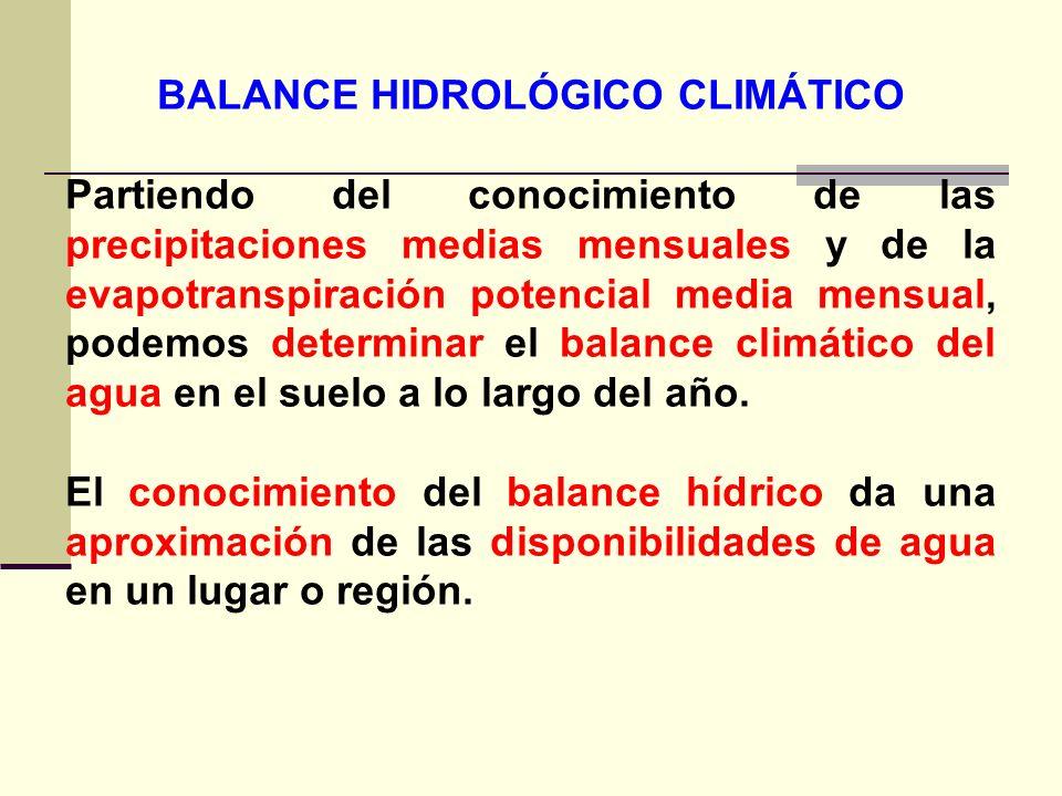 BALANCE HIDROLÓGICO CLIMÁTICO Partiendo del conocimiento de las precipitaciones medias mensuales y de la evapotranspiración potencial media mensual, p