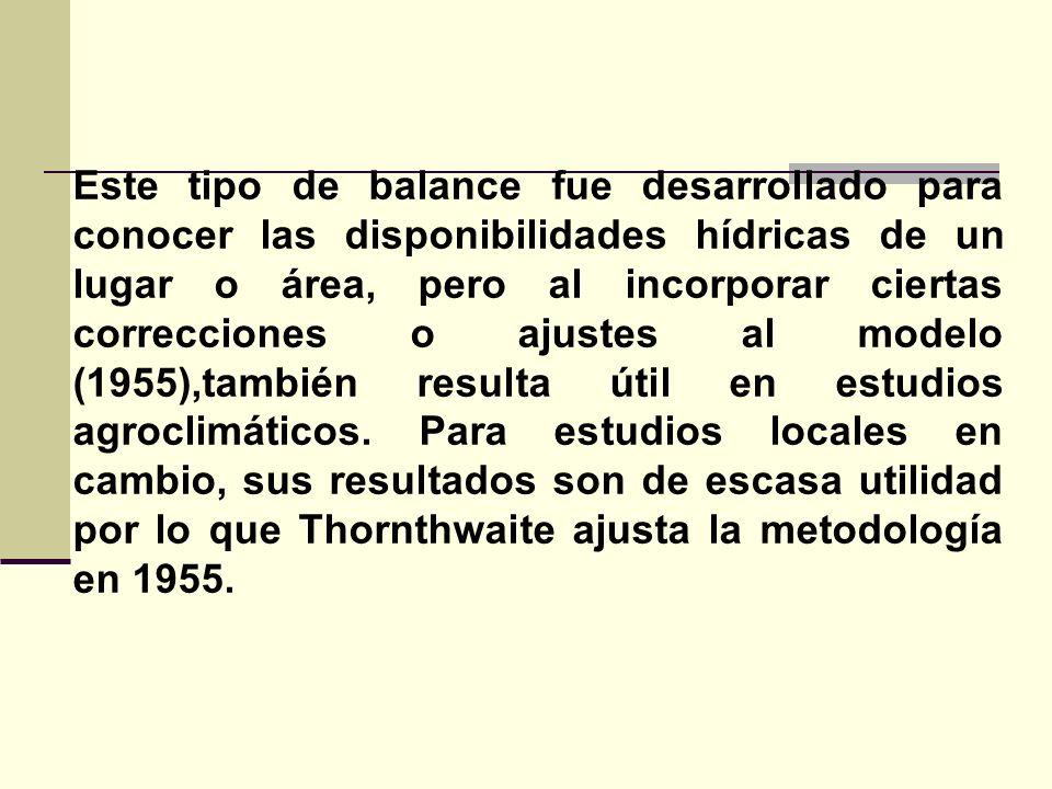 En el balance del año 1955, Thornthwaite no considera a todos los suelos iguales ni toma como exclusiva la profundidad de 1 metro, sino que considera: Tipo de suelo Profundidad radicular Por lo tanto para determinar la capacidad de almacenaje de agua de los suelos, en el método del 55, se recurre a una fórmula.