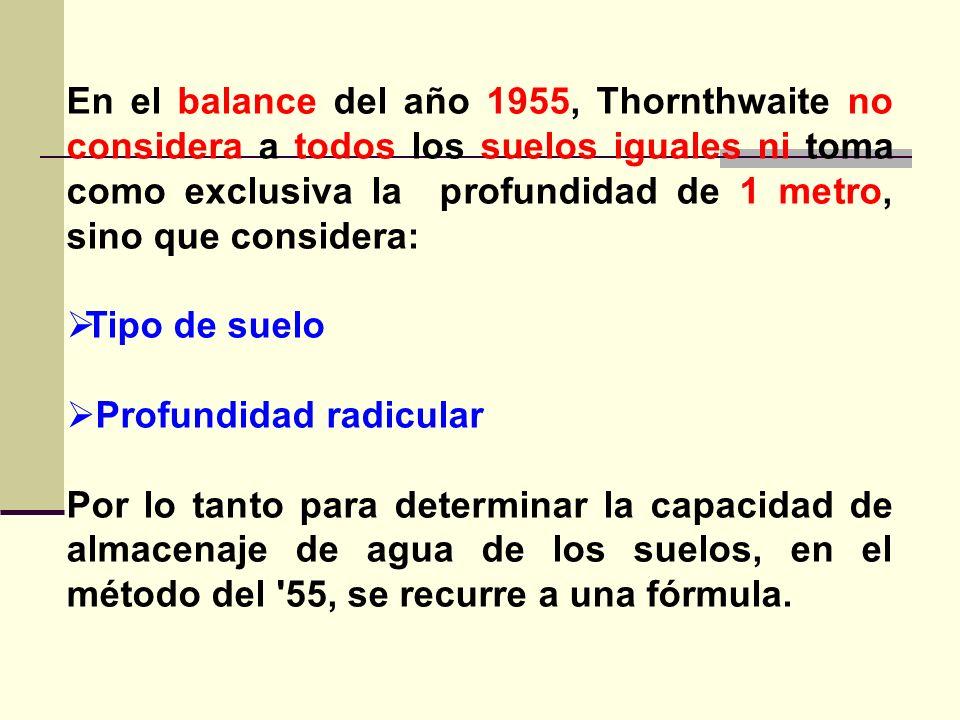 En el balance del año 1955, Thornthwaite no considera a todos los suelos iguales ni toma como exclusiva la profundidad de 1 metro, sino que considera: