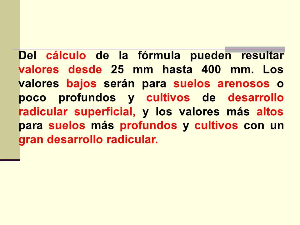 Del cálculo de la fórmula pueden resultar valores desde 25 mm hasta 400 mm. Los valores bajos serán para suelos arenosos o poco profundos y cultivos d