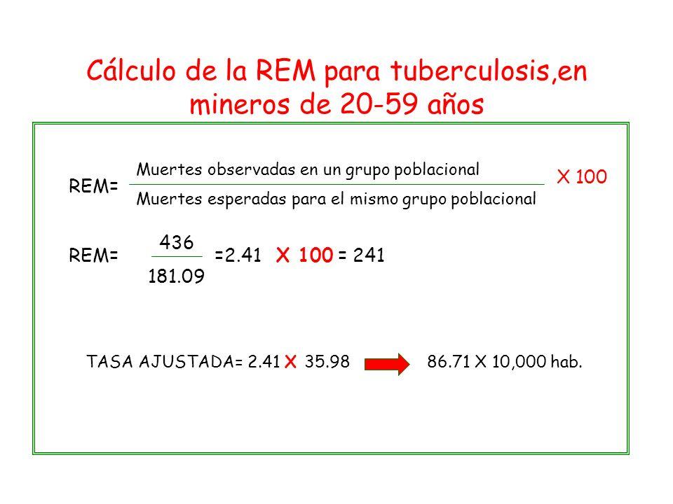 REM= Muertes observadas en un grupo poblacional Muertes esperadas para el mismo grupo poblacional REM==2.41 436 181.09 Cálculo de la REM para tubercul