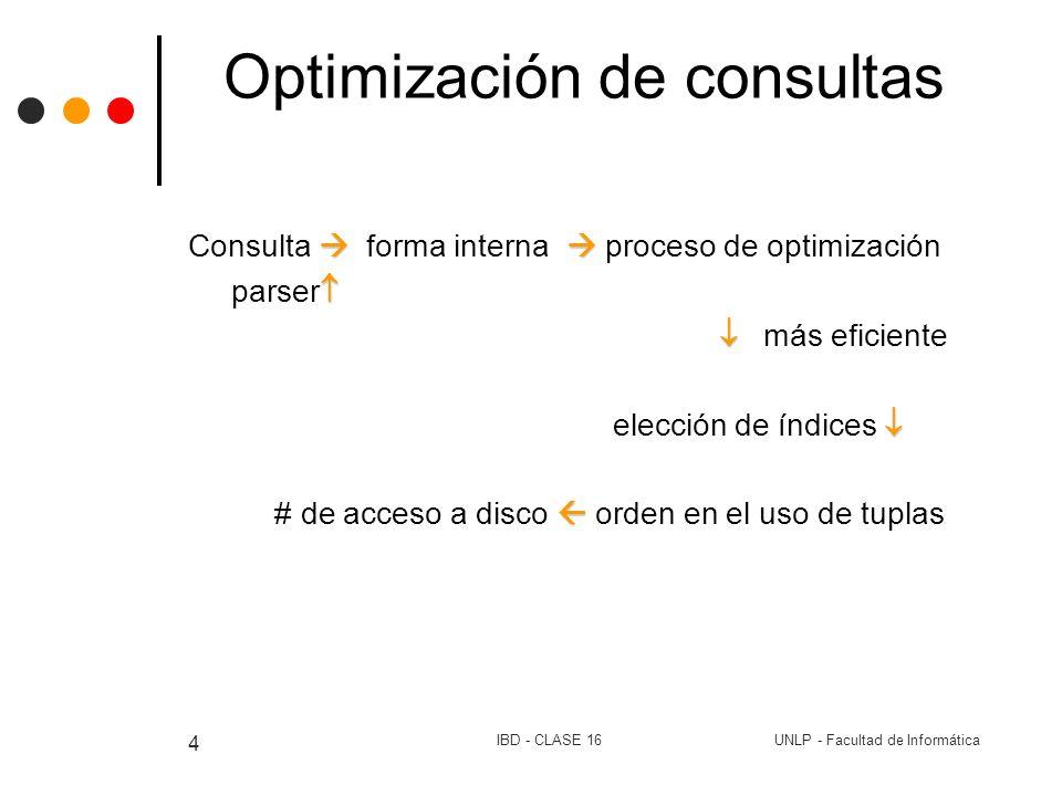UNLP - Facultad de InformáticaIBD - CLASE 16 5 Optimización de consultas Optimización Lógica Expresiones equivalentes: Algebra relacional: procedural, existe una secuencia de resolución se puede encontrar una expresión más eficiente que otra.