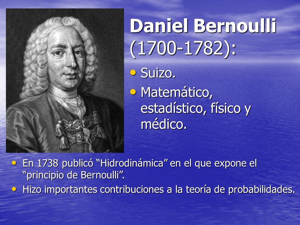 Daniel Bernoulli (1700-1782): Suizo. Suizo. Matemático, estadístico, físico y médico. Matemático, estadístico, físico y médico. En 1738 publicó Hidrod