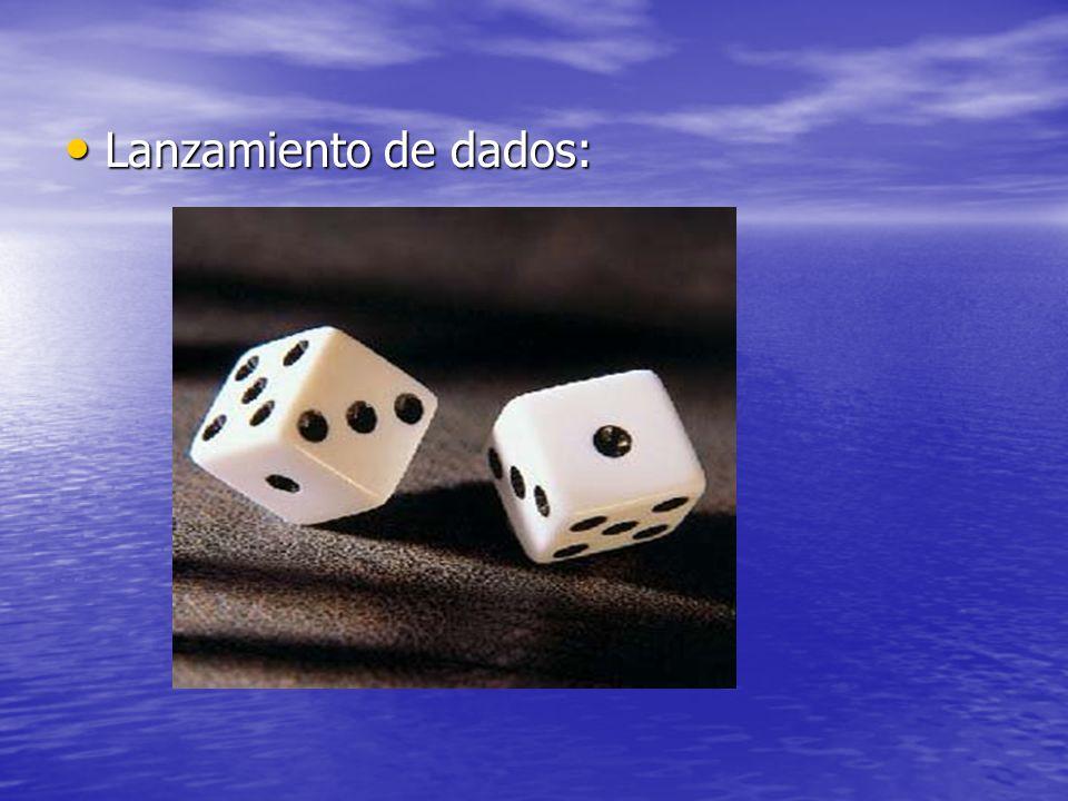 Probabilidad que al lanzar un dado salga un 6 Cuando lanzamos un dado tenemos 6 posibles resultados: Cuando lanzamos un dado tenemos 6 posibles resultados: Ω = {1,2,3,4,5,6} Ω = {1,2,3,4,5,6} Se considera éxito sacar un 6, por tanto, la probabilidad será p = 1 / 6.