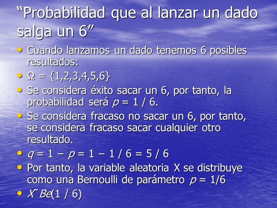 La probabilidad de que obtengamos un 6 viene definida como la probabilidad de que X sea igual a 1.
