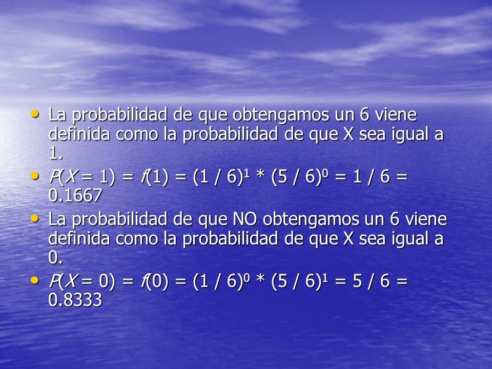 La probabilidad de que obtengamos un 6 viene definida como la probabilidad de que X sea igual a 1. La probabilidad de que obtengamos un 6 viene defini