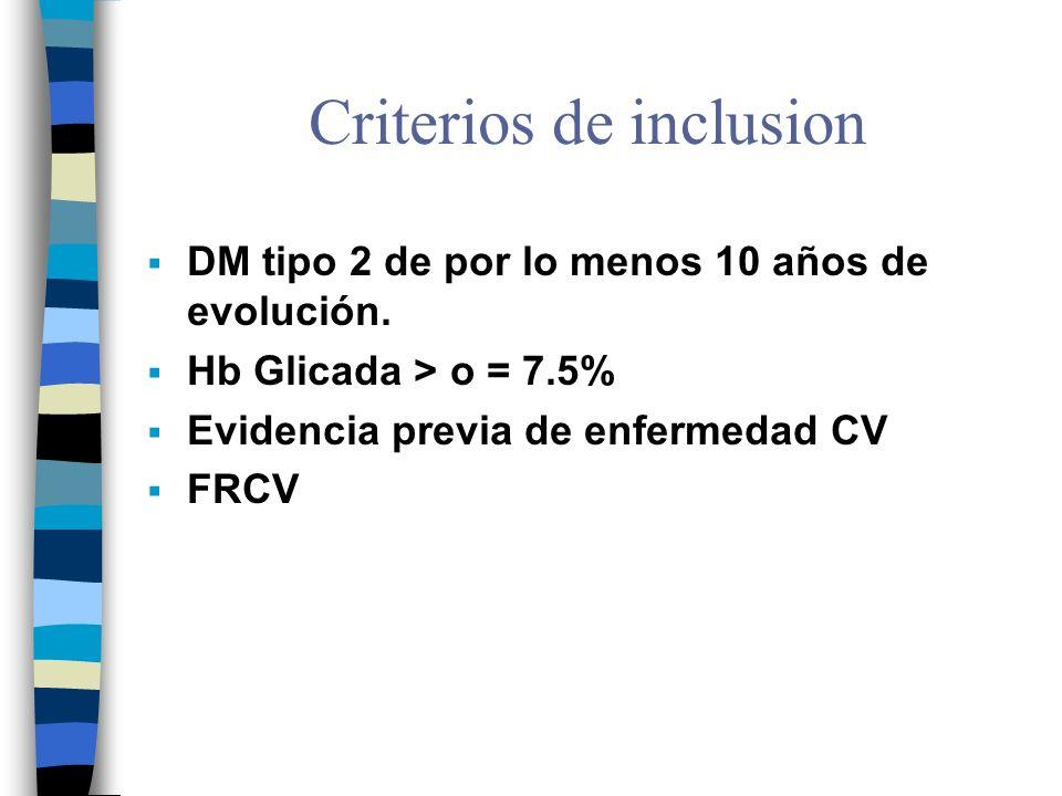 Criterios de inclusion DM tipo 2 de por lo menos 10 años de evolución.