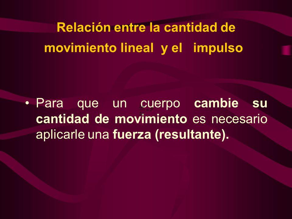 Relación entre la cantidad de movimiento lineal y el impulso Para que un cuerpo cambie su cantidad de movimiento es necesario aplicarle una fuerza (re