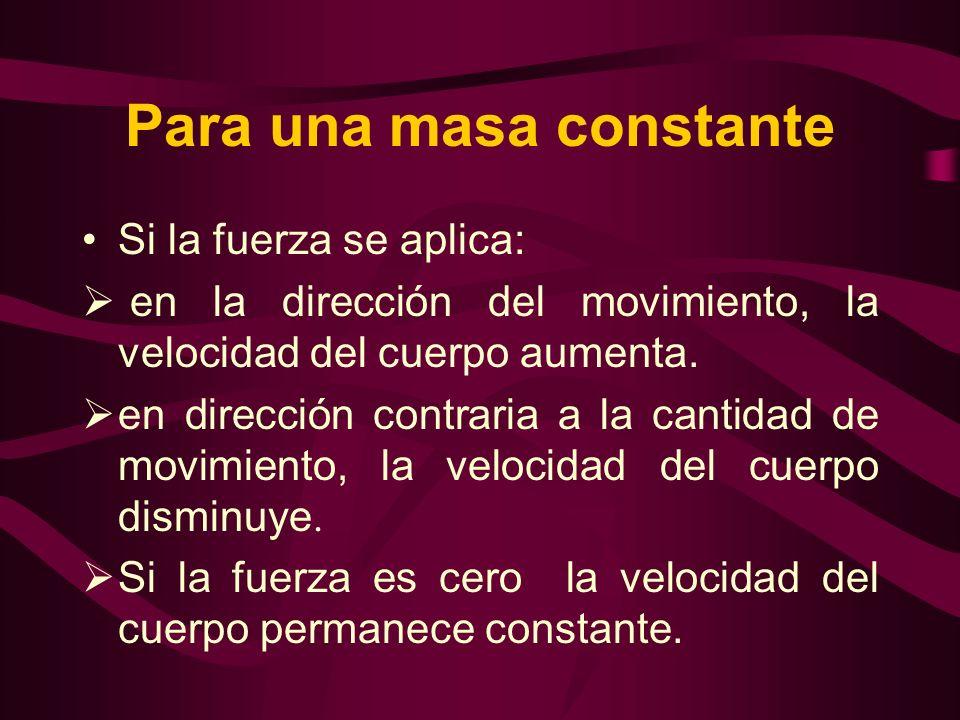 Para una masa constante Si la fuerza se aplica: en la dirección del movimiento, la velocidad del cuerpo aumenta. en dirección contraria a la cantidad