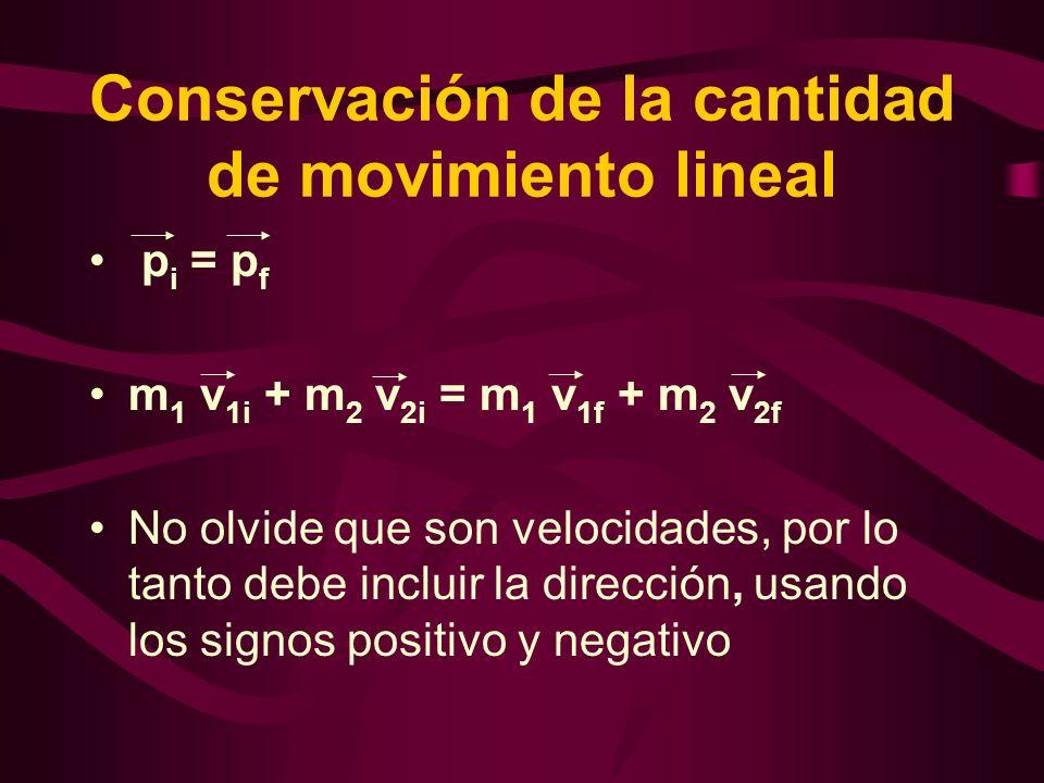 Conservación de la cantidad de movimiento lineal p i = p f m 1 v 1i + m 2 v 2i = m 1 v 1f + m 2 v 2f No olvide que son velocidades, por lo tanto debe